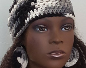 Black White Gray Crochet Skullcap Beanie and Earrings by Razonda Lee Razondalee