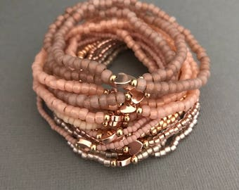 14k Gold Pink Rose Gold Small Bracelet Stack, Rose Gold Bracelet, 14K Gold Bracelets, Gifts for Her, Pink Rose Gold Gifts, Rose Gold Jewelry