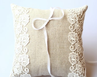 Ring Pillow, Wedding Ring Cushion, Linen Pillow, Lace Pillow, Wedding Pillow, Ring Bearer Pillow