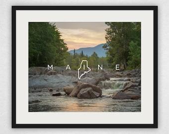 Carrabassett River Sunset - Maine Design Wall Art and Canvas Print
