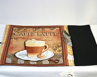 placemat rolled ustensils  zipped pocket, caffe latte pattern, rollable placemat, portable placemat, for Lunch box,