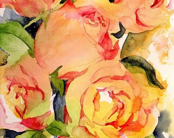 Watercolor 5 Roses Giclee Print Rose Print Rose Art Rose Lover Gift for Her Prints