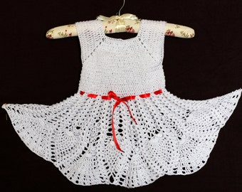 Summer White Crocheted Dress for 3-4 years-old girl Baby Dress crochet dress baby girl