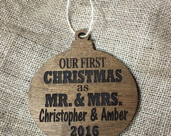 First ornament, first married couole ornament, married christmas ornament, mr and mrs christmas ornament