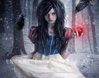 Snow White print, Snow White art, Fairytale art, Gothic Snow White, Dark fairytale art, Gothic decor, Gothic print, crows print, ravens art