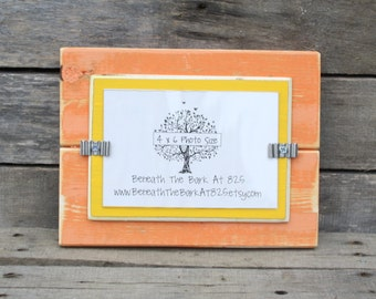 4x6 Picture Frame - Distressed Wood - Holds a 4x6 Photo - Tangerine Orange and Yellow
