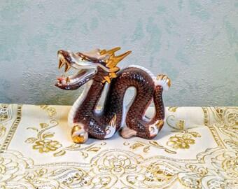Vintage Dragon Serpent Figurine Otagiri Japan Porcelain Japanese Dragon Folklore Gold Trim Horned Dragon Asian Culture Serpent Dragon Decor