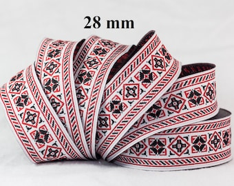 Width 28 mm jacquard embroidered Ribbon