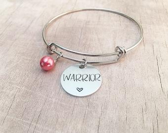 Breast Cancer Awareness Bracelet - Warrior Bracelet - Cancer Awareness - Hand Stamped Bangle Bracelet