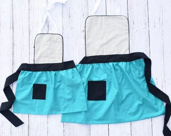 Mommy and Me Apron Set - Teal and Black Dot Apron Set