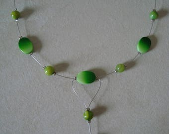 Whimsical necklace in shades of green