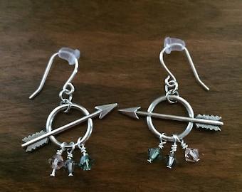 Arrow Earrings, Arrow Jewelry, Archery Jewelry, Archery Earrings, Silver Arrow, Silver Earrings - Bullseye Earrings (silver/green)