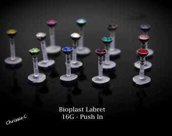 Crystal Bioplast Flexible Labret Piercing Stud Jewelry 16g