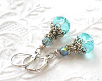 victorian earrings turquoise earrings victorian dangle earrings sea blue earrings silver filigree earrings vintage style earrings