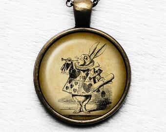 Alice in Wonderland White Rabbit Trumpet Pendant and Necklace