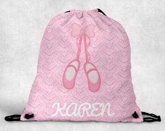 Personalized Drawstring Backpack - Ballet Shoes Backpack - Ballet Shoes Bag - Personalized Kids Drawstring Bag