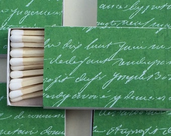 8 Wedding Party Favors Matchboxes green font italic romantic love note christmas holiday
