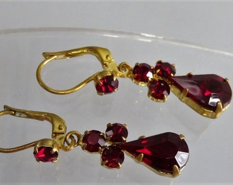 Vintage Gold Plated Ruby Red Glass Dangle Earrings