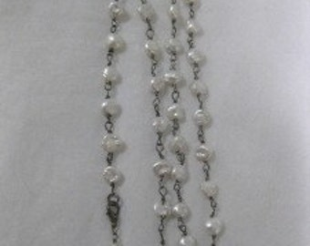 """Freshwater Pearls and Oxidized Sterling Long  32"""" Necklace"""