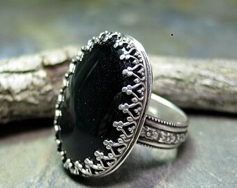 Black Onyx Ring  Filigree Bezel sterling silver flower band garden jewelry - Midnight Garden