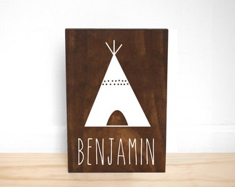 Personalized Baby Gift, Baby Name Sign, Tribal Nursery Decor, Teepee Nursery Decor, Tribal Baby Shower, Boho Nursery, Boho Baby Shower
