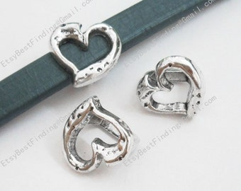 10pcs Licorice bracelet findings Hollow heart beads licorice leather findings -LF42