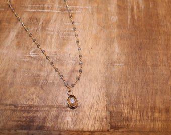 Labradorite Rosary Chain Choker with Pendant