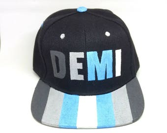 Demiboy Transgender LGBTQ+ Hand Painted Snapback Hat Demiguy Transmasculine Fashion Accessories Nonbinary Pride Demiboy Pride Trans Hat