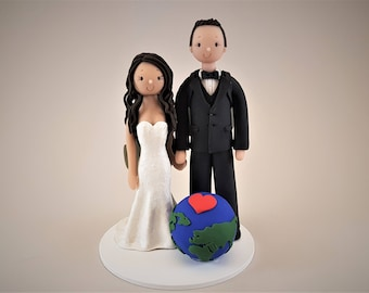 Bride & Groom Personalized Backpackers/Travel Theme Wedding Cake Topper
