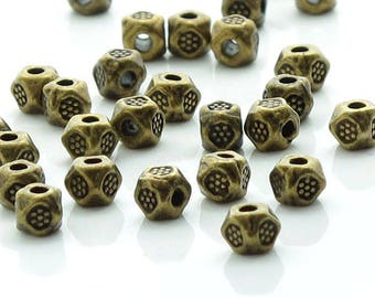 Antique Bronze Carved Flower Faceted Spacers 3.5mm 50 Beads