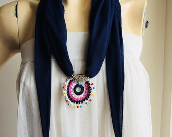 Navy Scarf with  Pendant - Necklace Scarf-Crochet Lace Scarf- Ladies Gift Scarf with slide, Scarf with slider pendant-Scarf Necklace Jewelry
