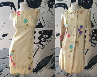 Elsie Sommer Abstract Flower 2 Piece Evening Dress Suit