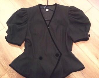 women's jacket  size 16 black blazer  short-sleeve blazer   black short-sleeve jacket  peplum blazer   puff-sleeves jacket  blazer-jacket