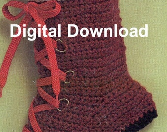 Crochet Christmas Stocking, Hiking Boot, Vintage Sock, Holiday Decorating Pattern, PDF Instant, Digital Download, Retro