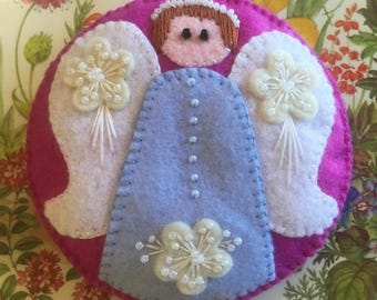LYNN:  Angel ornament, made of felt, hand stitched, original design,  embellished with pearl seed beads