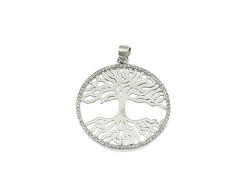 Tree of Life pendant 925 sterling silver plated white gold contromaglia 925 sterling silver plated in gold, diameter mm28
