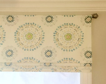 Faux (fake) flat roman shade valance. Your choice of fabric (up to 20 dollars/yd) included!  Custom Sizing. Robert Allen Color Wheel Rain