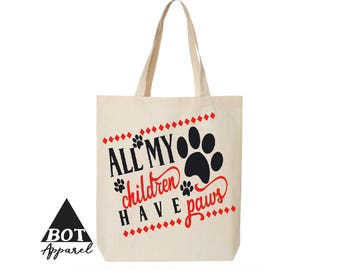 All My Children Have Paws Cotton Canvas Tote Bags