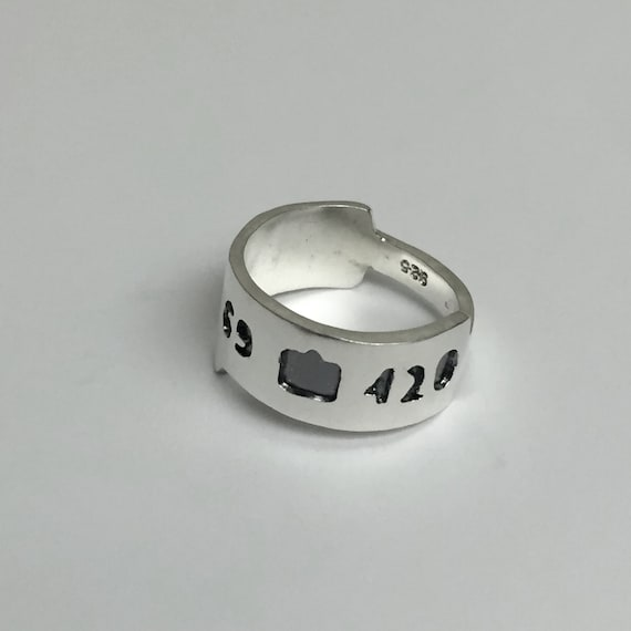 Insta like hearts 69 - 420 ring. Sterling Silver Ring. Custom Jewelry. Silver Ring. handmade rings. handmade silver rings. Custom made ring.