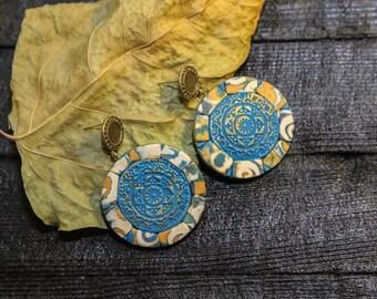 Ethnic Earrings Boho Earrings Talavera tile jewelry Moroccan jewelry hoop earring circle earrings  blue earrings tribal earrings
