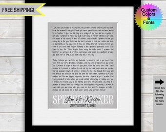 Wedding Vows Print, 1st Anniversary Gift, First Anniversary Gift, Wedding Day Vows Print, One Year Anniversary, Gift for Him, Gift for Her