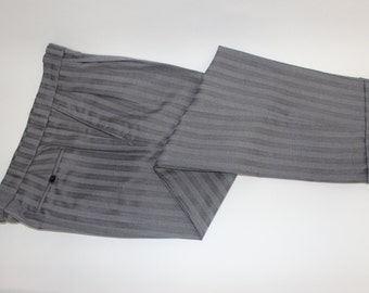 vintage 70's - 80's Men's Custom-made -Vicuna- formal 'Morning' pants. Tone-on-tone Gray stripe. Pleat front - Tapered leg. Waist 36