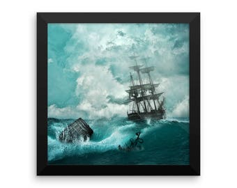 Old Sailing Ship In A Storm Framed Photo Paper Print