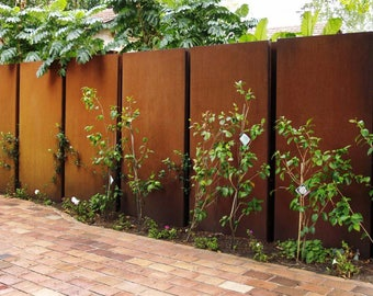 Metal Laser Cut Solid Rust Feature Privacy Screen Panel