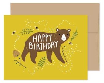 Bear Birthday Cards, Blank Bear Cards, Bear Celebration, Bear Happy Birthday, Bear Greeting Cards, Bear Stationery