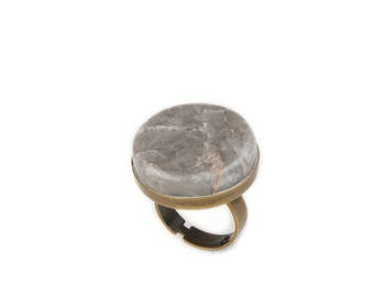 Greek Marble Ring Brass Bronze Metal Base Holiday Gift Circle Shape Marble Jewelry Handmade in Marble Giftforher Vintage Ring