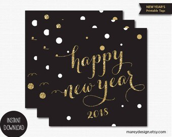 New Years Tags New Year's Favor Tags Printable Digital Download Black Gold New Years Gift Tags New Years Party Favors New YearsTags Decor
