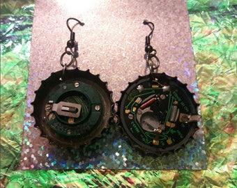clock guts bottlecap earrings