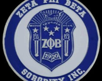 Zeta Round Stamped Car Decal