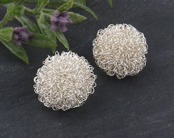 Silver, Wire Wrapped Ball Beads, Wire Wrapped Beads, 2 pieces // BD-062